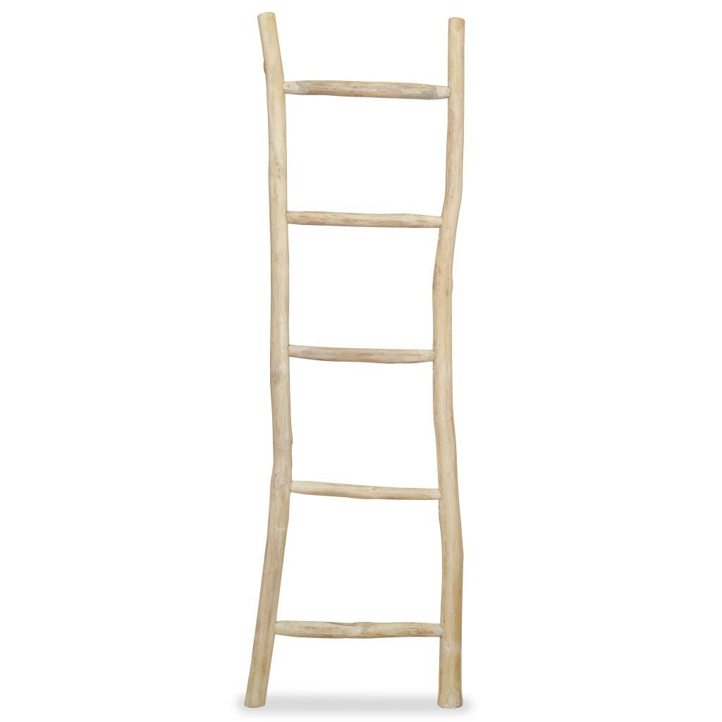 vidaXL Vešiak na uteráky, rebrík s 5 priečkami, teakové drevo, 45x150 cm, prírodná