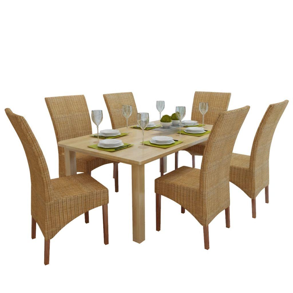 619844df64d27 vidaXL Ratanové jedálenské stoličky, 6 ks, hnedé