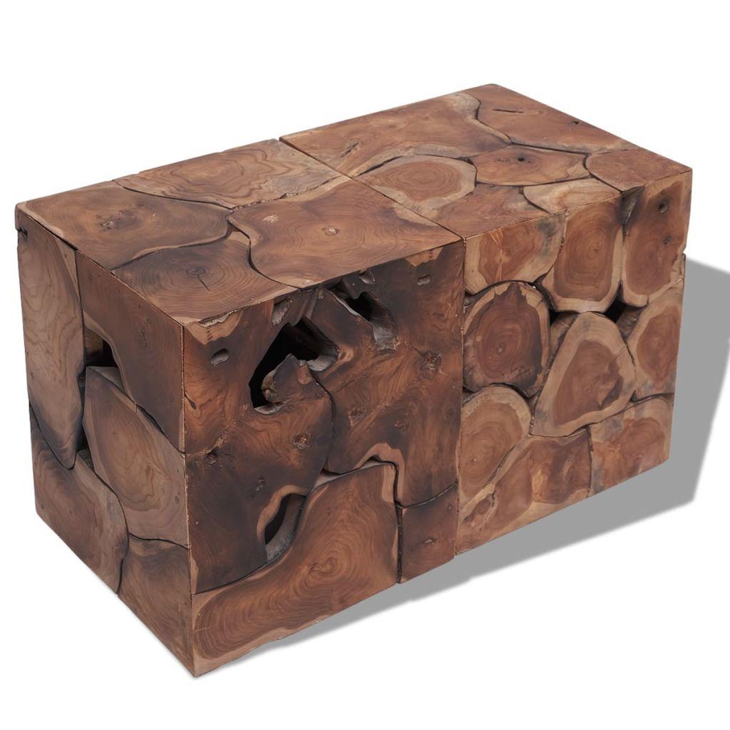vidaXL Sedadlá/Konferenčný stolík, masívne teakové drevo, (2x243472)