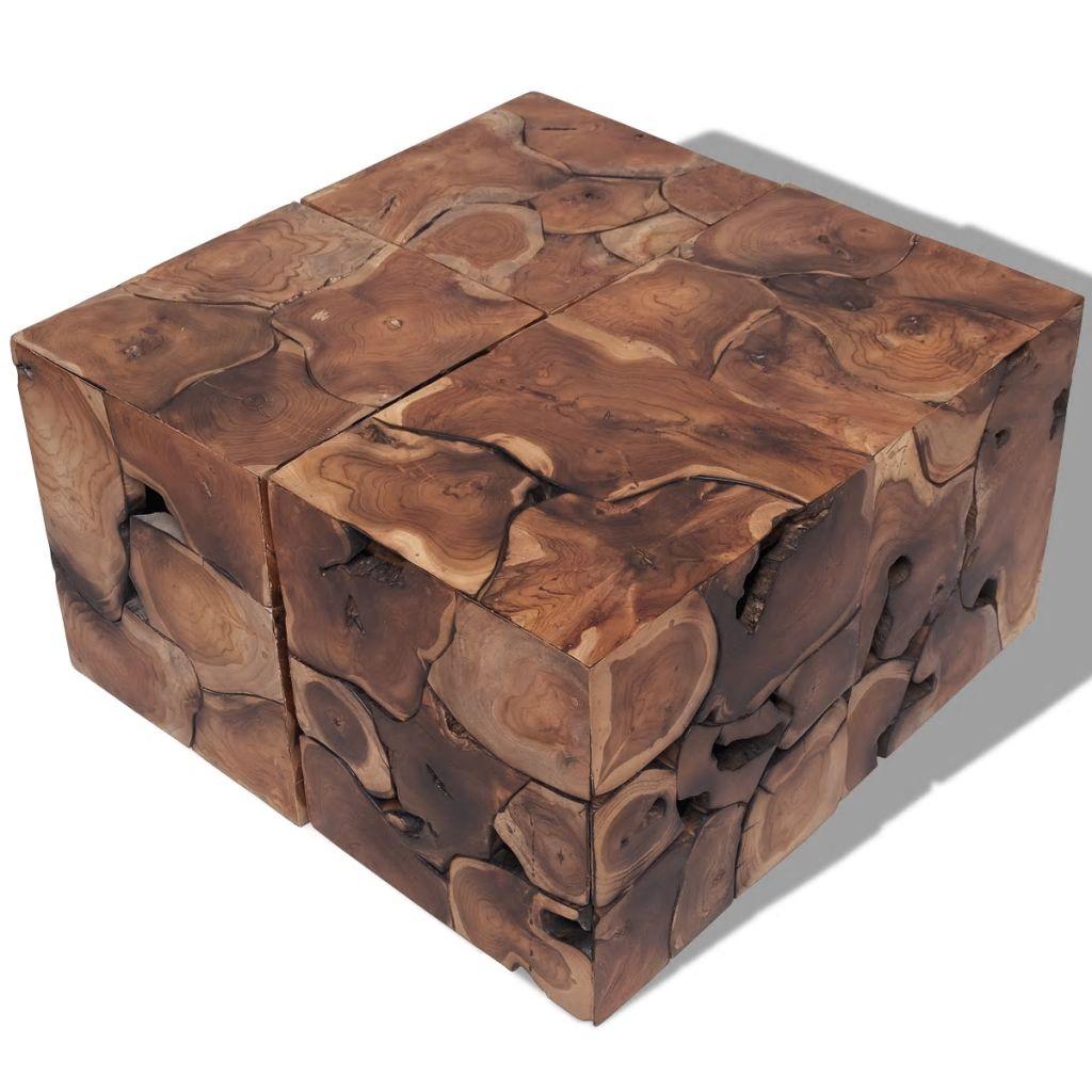 vidaXL Sedadlá/Konferenčný stolík, masívne teakové drevo (4x243472)