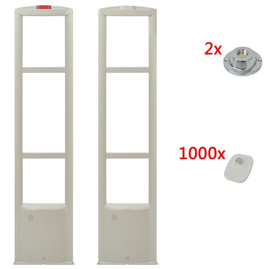 vidaXL Bezpečnostný anténny systém RF s etiketami a uvoľňovačmi etikiet, 8.2MHz, biely (142250+142252+2x142256)