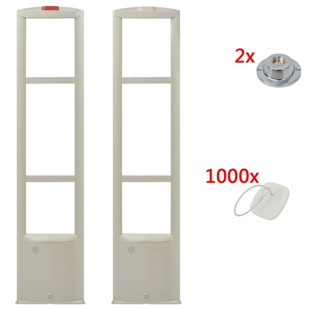 vidaXL Bezpečnostný anténny systém RF s etiketami a uvoľňovačmi etikiet, 8.2MHz, biely (142250+142254+2x142256)
