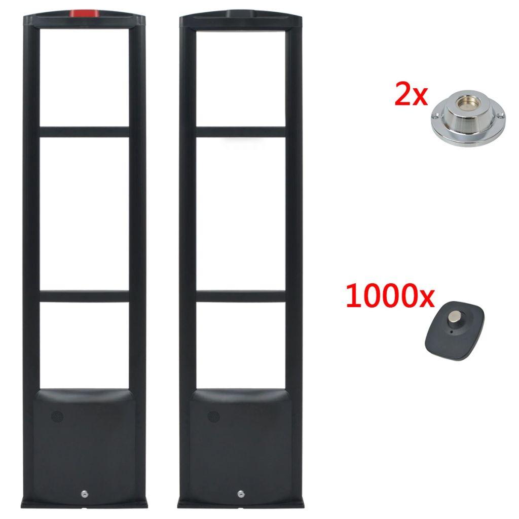 vidaXL Bezpečnostný anténny systém RF s etiketami a uvoľňovačmi etikiet, 8.2MHz, čierny (142251+142253+2x142256)