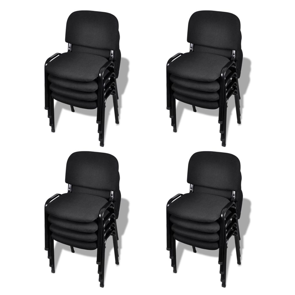 vidaXL Stohovateľné kancelárske stoličky, 16 ks, látkové, čierne (4x20138)