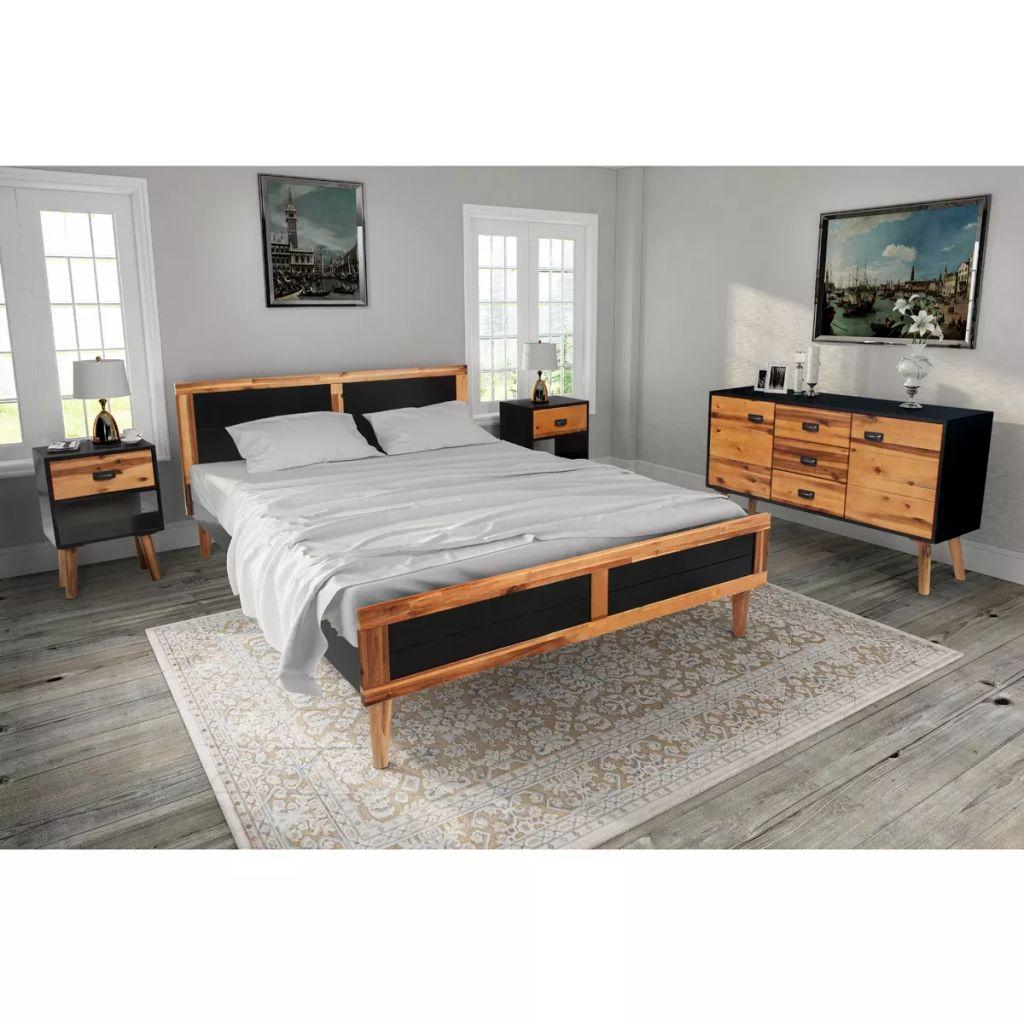 vidaXL 4-dielna súprava nábytku do spálne, akáciové drevo, 140x200 cm