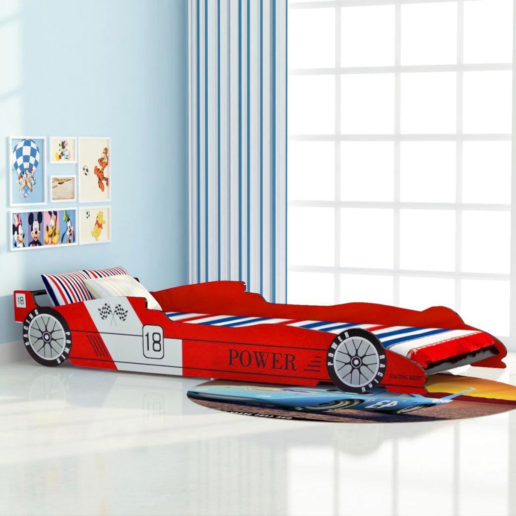 vidaXL Detská posteľ, pretekárske auto, 90x200 cm, červená