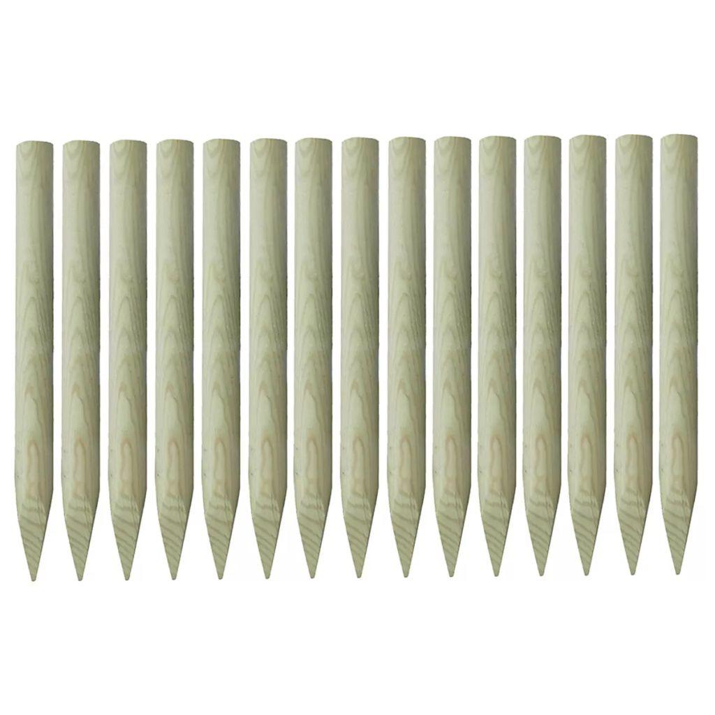 vidaXL Špicaté plotové stĺpiky, 15 ks, impregnované borovicové drevo, 4x100 cm