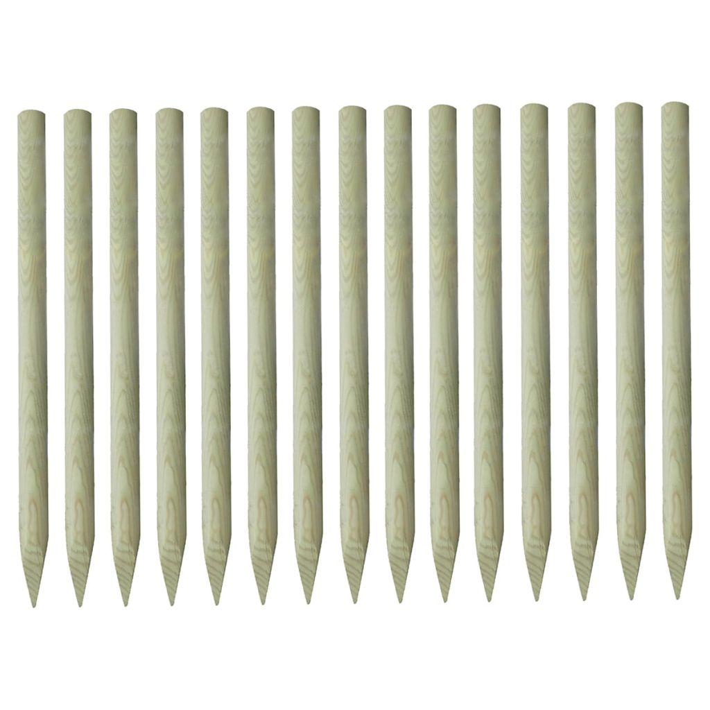 vidaXL Špicaté plotové stĺpiky, 15 ks, impregnované borovicové drevo, 4x150cm