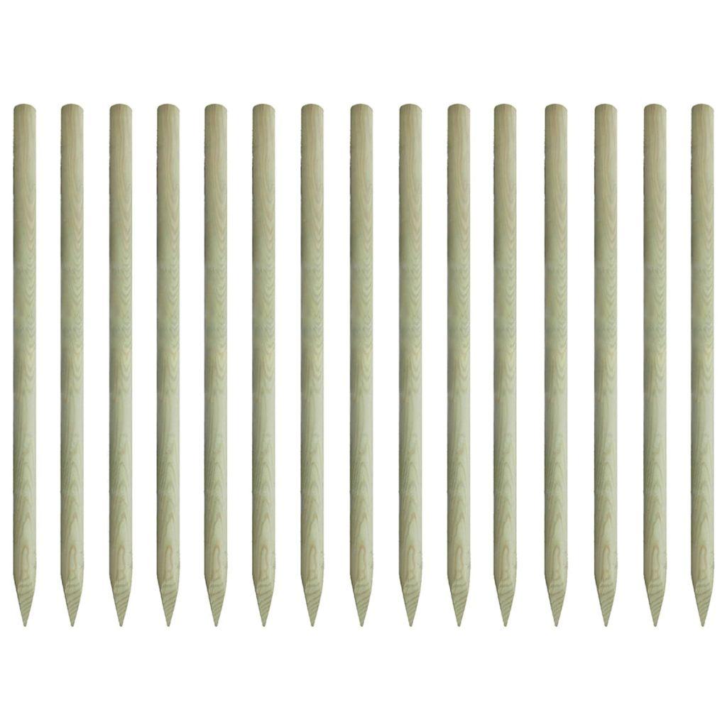 vidaXL Špicaté plotové stĺpiky, 15 ks, impregnované borovicové drevo, 4x197 cm