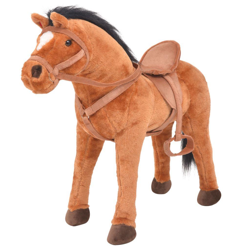 vidaXL Stojaci plyšový hračkársky koník, hnedý