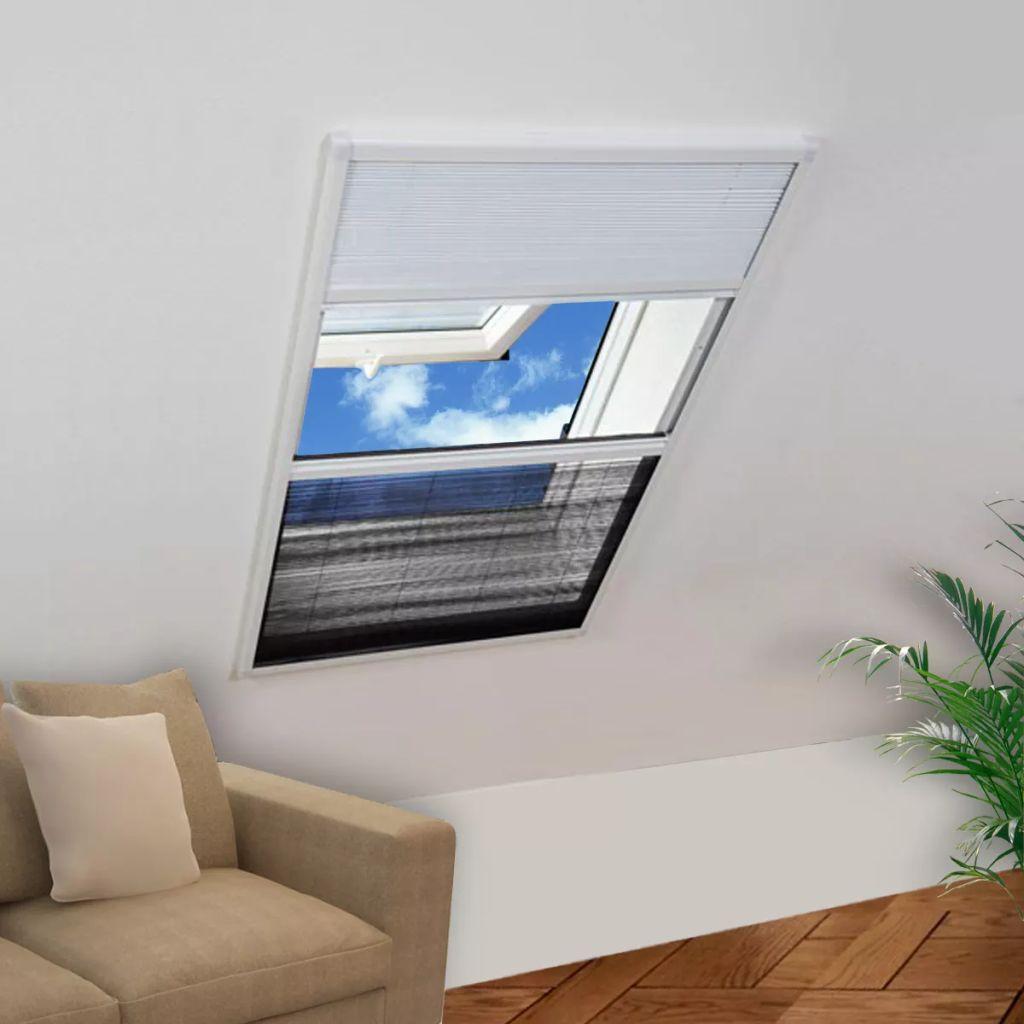 vidaXL Plisovaná okenná sieťka proti hmyzu s hliníkovým rámom a roletou, 80 x 110 cm