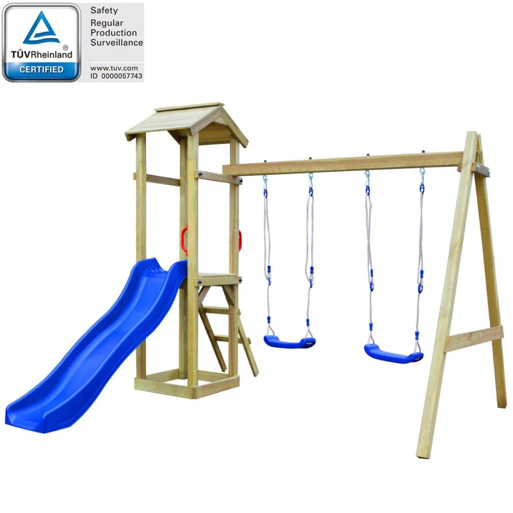 vidaXL Detské ihrisko z borovicového dreva so šmýkalkou, rebríkom a húpačkami, 242x237x218cm (43264+91221+90980)