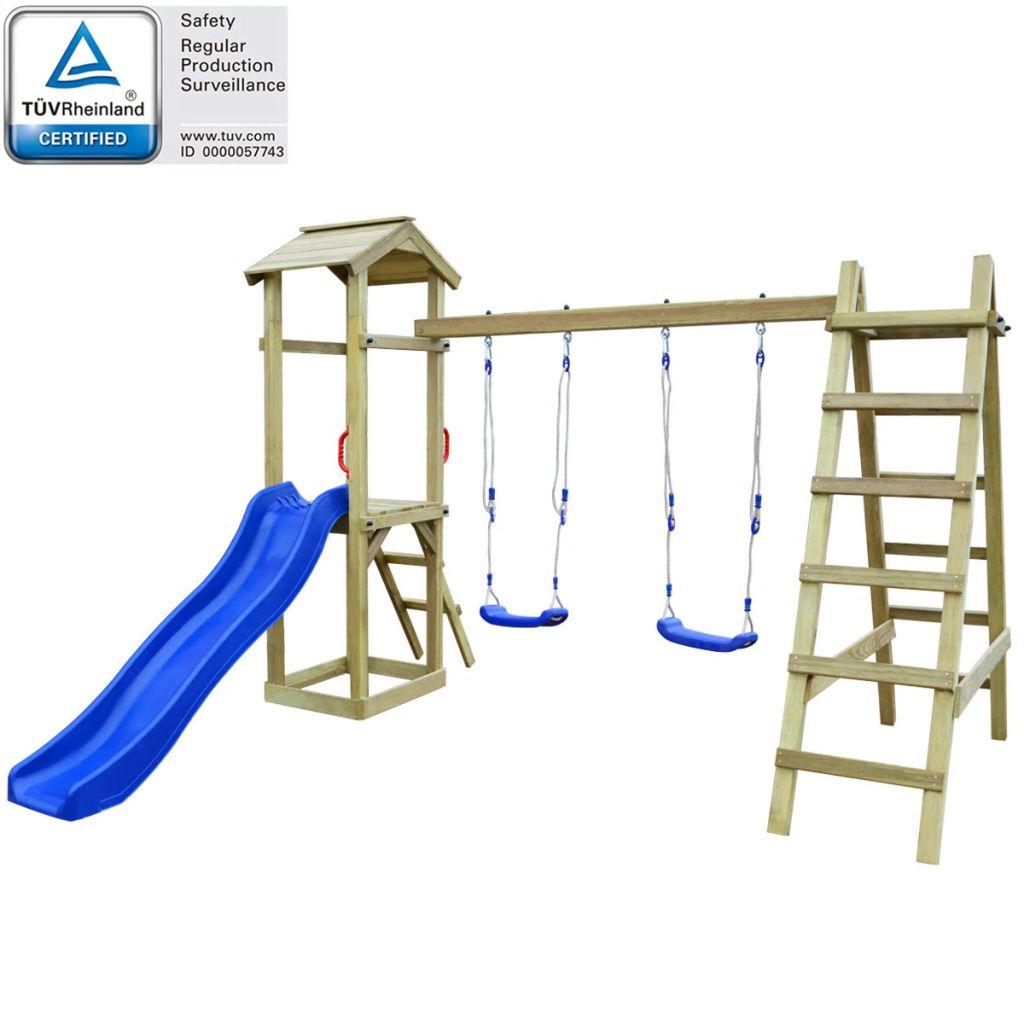 vidaXL Detské ihrisko z borovicového dreva so šmýkačkou, rebríkom a húpačkami, 286x237x218 cm (43266+91223+90980)