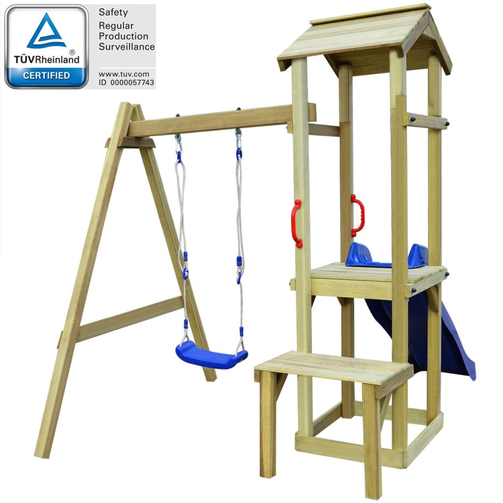 vidaXL Detské ihrisko z borovicového dreva so šmýkačkou a húpačkou, 228x168x218 cm (43268+91225+90980)