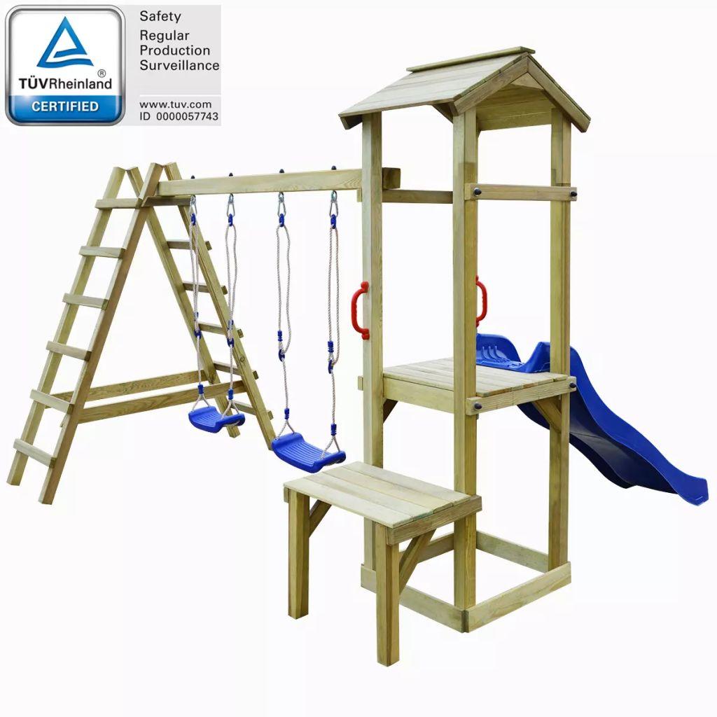 vidaXL Detské ihrisko z borovicového dreva so šmýkačkou, rebríkmi a húpačkami, 286x228x218 cm (43269+91226+90980)