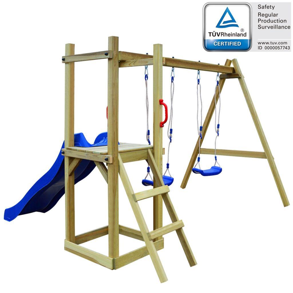 vidaXL Detské ihrisko z borovicového dreva so šmýkalkou, rebríkom a húpačkami, 242x237x175 cm (43270+91227+90980)
