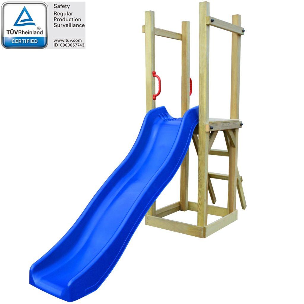 vidaXL Detské ihrisko z borovicového dreva so šmýkačkou a rebríkom, 237x60x175cm (43271+91228+90980)