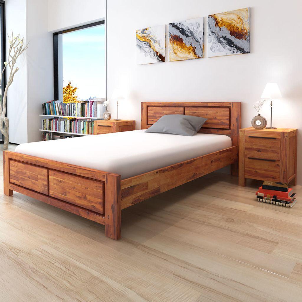 vidaXL Rám postele s nočnými stolíkmi z akáciového dreva, hnedý, 140x200 cm (244338+243268x2)