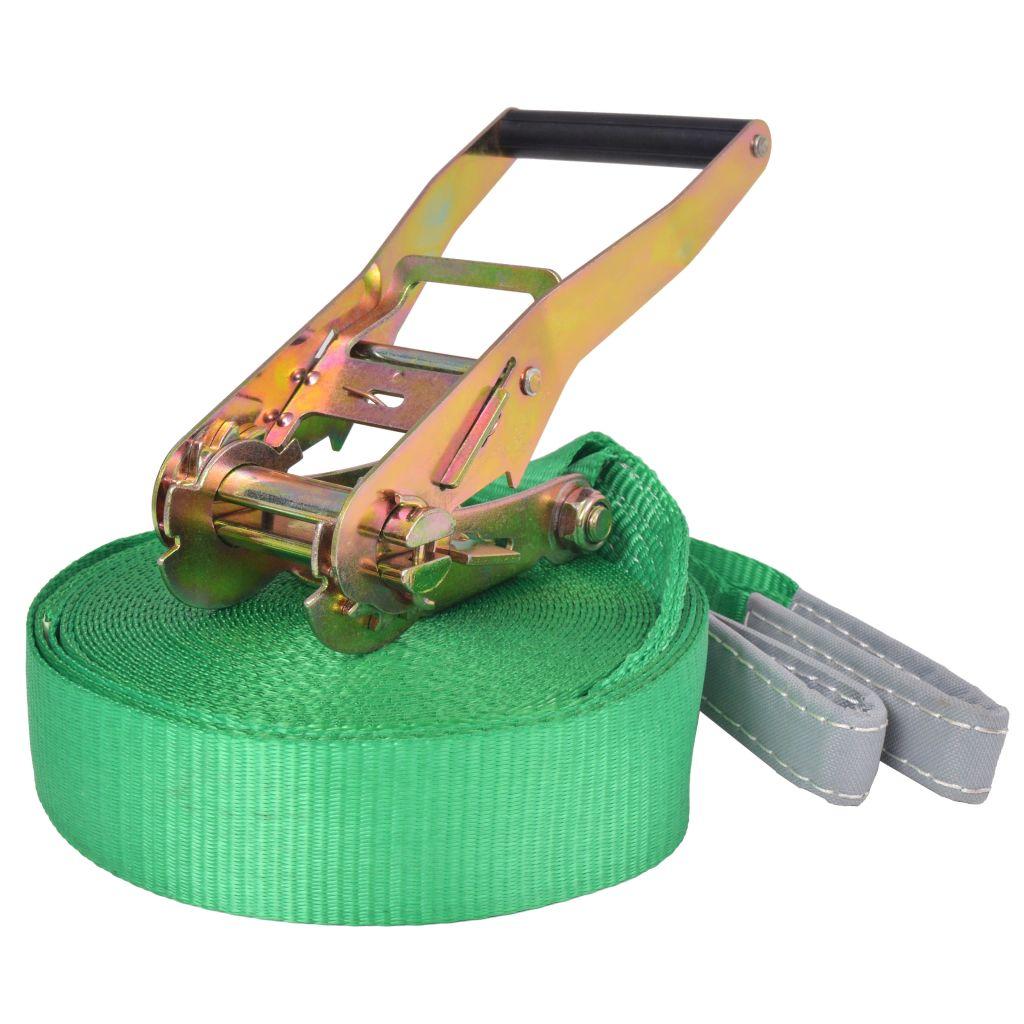 vidaXL Zelené lano na chodenie/slackline, 15 m x 50 mm, 150 kg