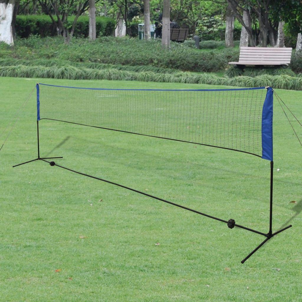 vidaXL Bedmintonová sada siete a košíkov, 500x155 cm