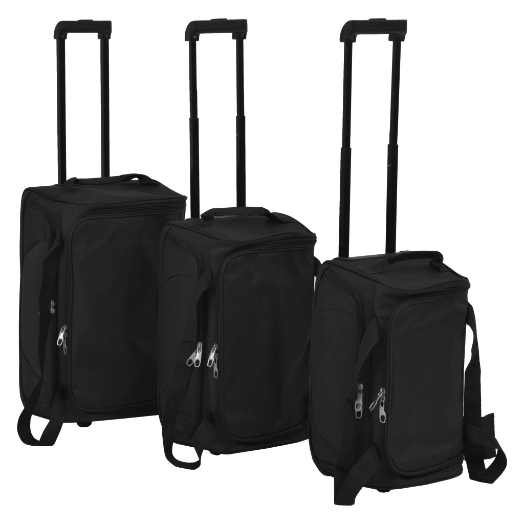 vidaXL Súprava 3 cestovných kufrov, čierna
