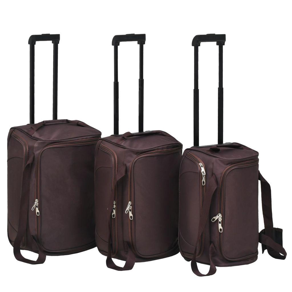 vidaXL súprava 3 cestovných kufrov, kávová
