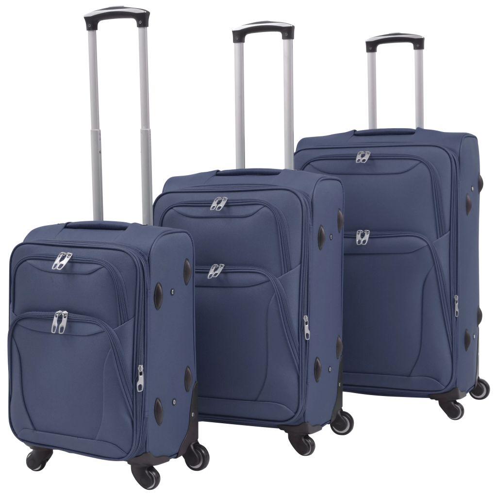 vidaXL Sada 3 cestovných kufrov, námornícka modrá