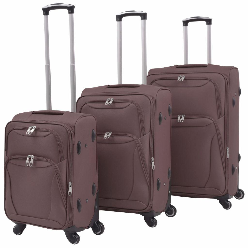 vidaXL Sada 3 cestovných kufrov, kávová