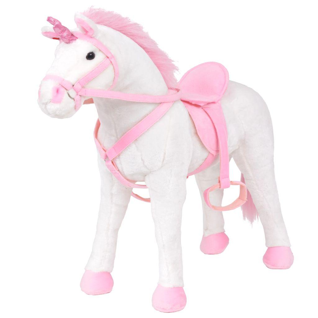 vidaXL Stojaca plyšová hračka, jednorožec, bielo-ružová, XXL