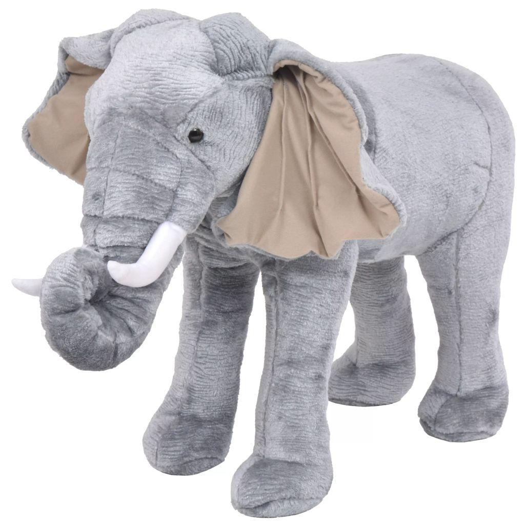 vidaXL Stojaca plyšová hračka, slon, šedý, XXL