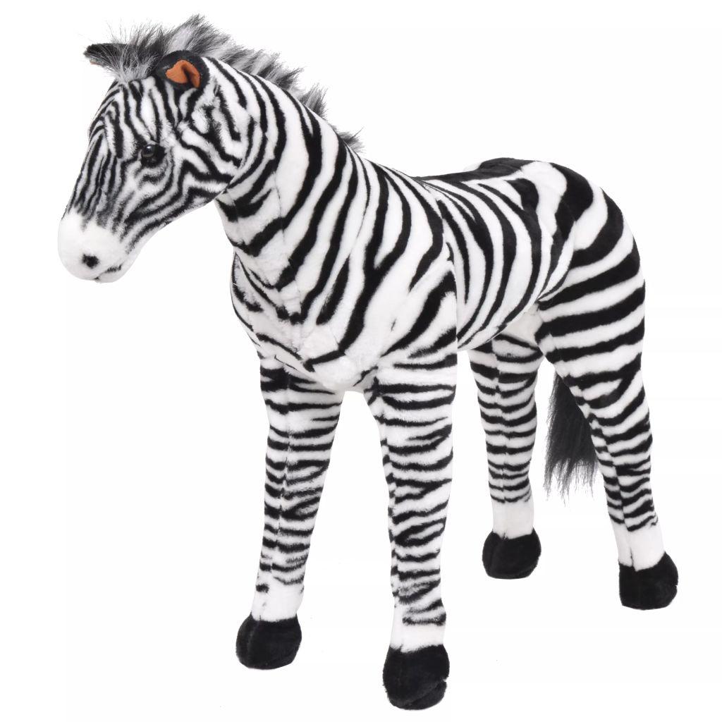 vidaXL Stojaca plyšová zebra, čierno-biela, XXL