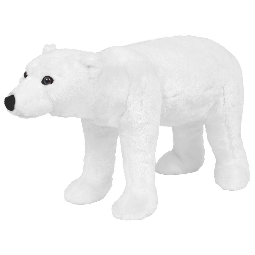 vidaXL Stojaca plyšová hračka polárny medveď biely XXL