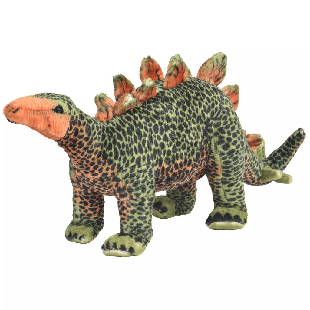 vidaXL Plyšová hračka dinosaurus stegosaurus zeleno-oranžový XXL