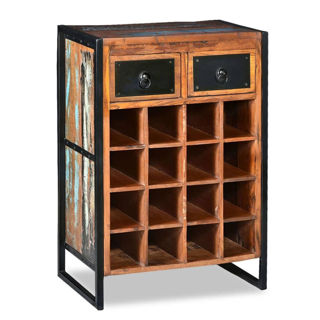 vidaXL Stojan na víno na 16 fliaš, masívne recyklované drevo