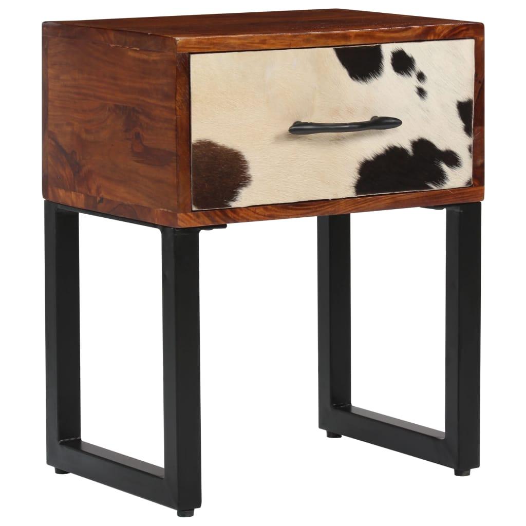 vidaXL Nočný stolík masívne sheeshamové drevo a pravá koža 40x30x50 cm
