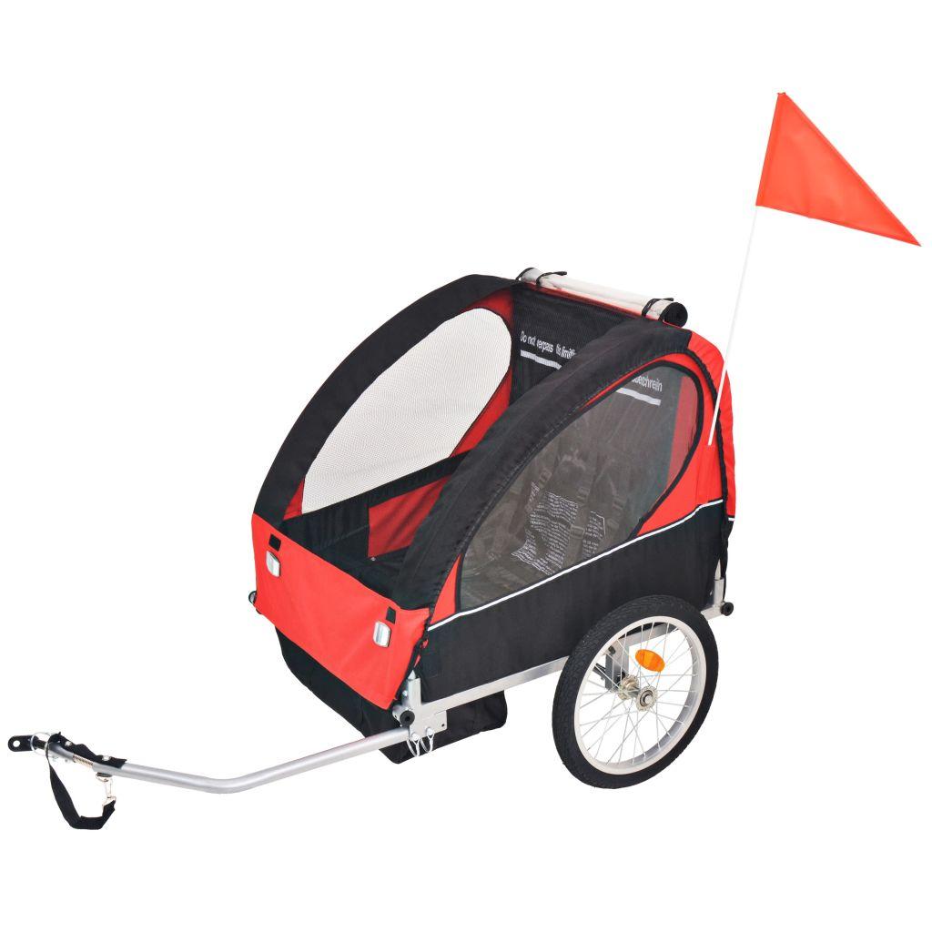vidaXL Detský cyklovozík, červeno-čierny, 30 kg
