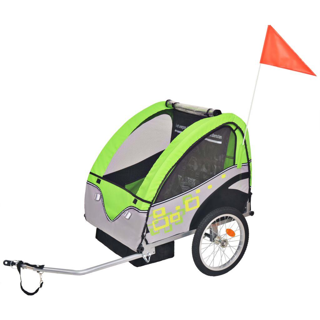 vidaXL Detský cyklovozík, šedo-zelený, 30 kg