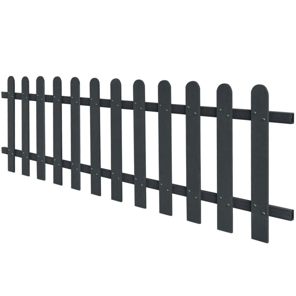 vidaXL Drevoplastový latkový plot, 200 x 60 cm, sivý