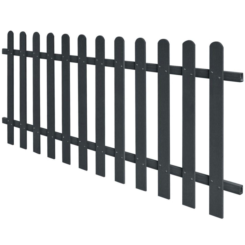 vidaXL Drevoplastový latkový plot, 200x80 cm, sivý