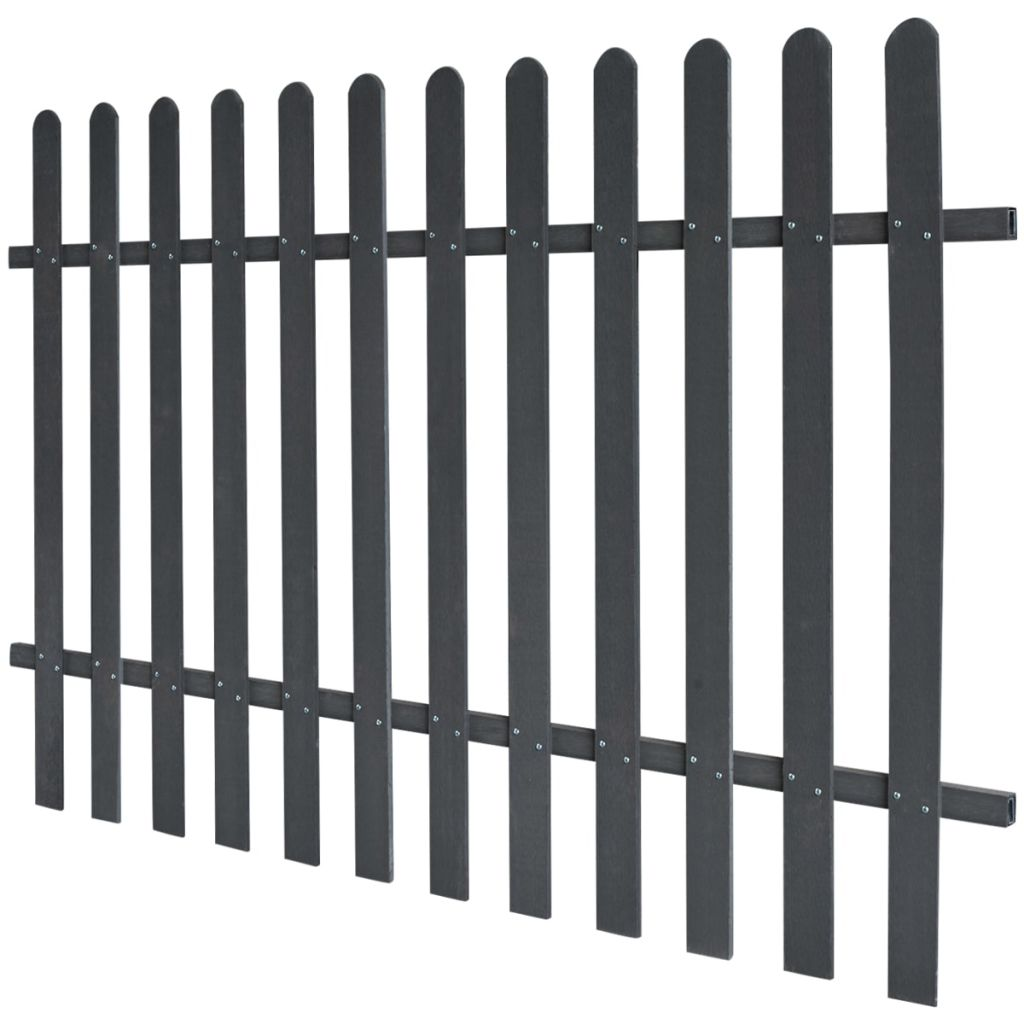 vidaXL Drevoplastový latkový plot, 200 x 120 cm, sivý