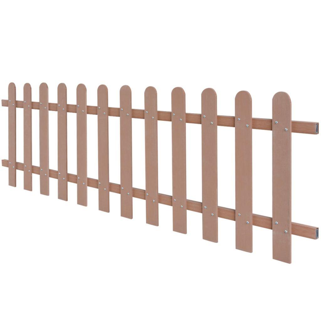 vidaXL Drevoplastový latkový plot, 200x60 cm, hnedý