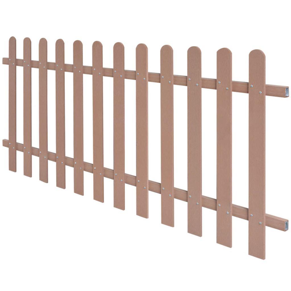 vidaXL Drevoplastový latkový plot, 200x80 cm, hnedý