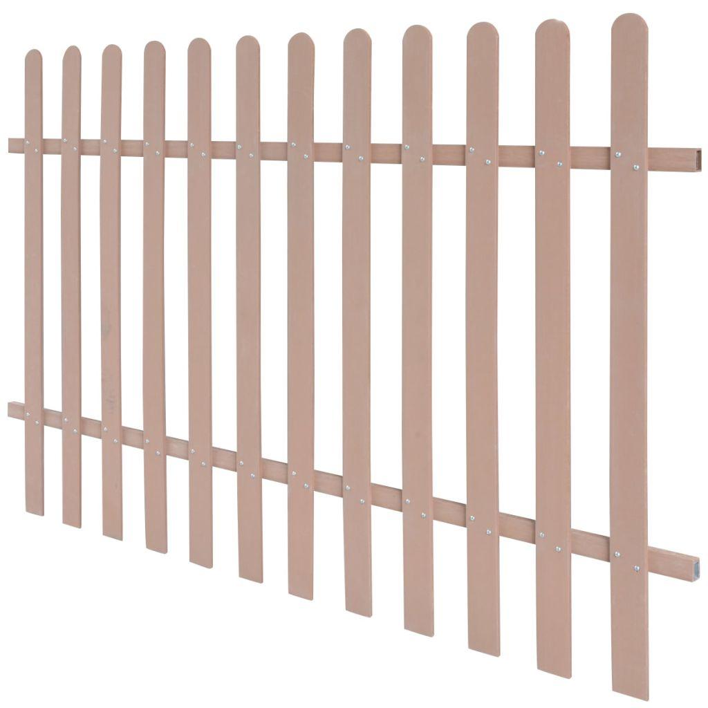 vidaXL Drevoplastový latkový plot, 200 x 120 cm, hnedý