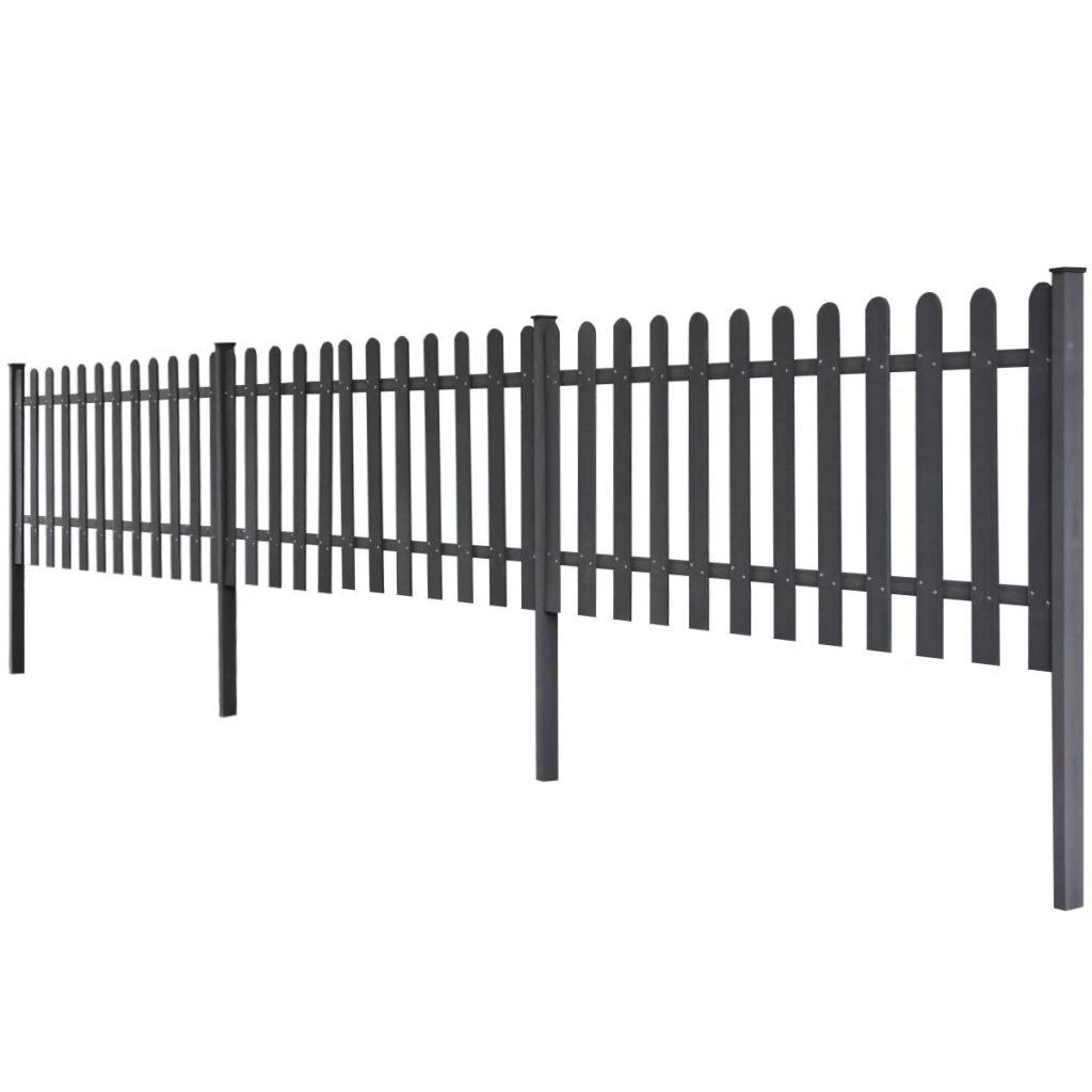 vidaXL Šedý plot z WPC so stĺpikmi, 6 m dlhý a 80 cm vysoký, 3 ks