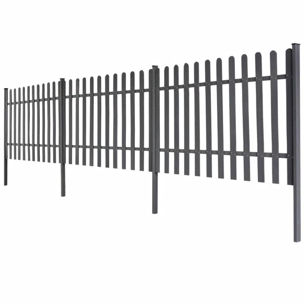 vidaXL Šedý plot z WPC so stĺpikmi, 6 m dlhý a 100 cm vysoký, 3 ks