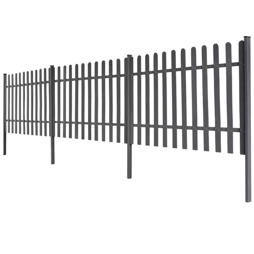 vidaXL Šedý plot z WPC so stĺpikmi, 6 m dlhý 120 cm vysoký, 3 ks