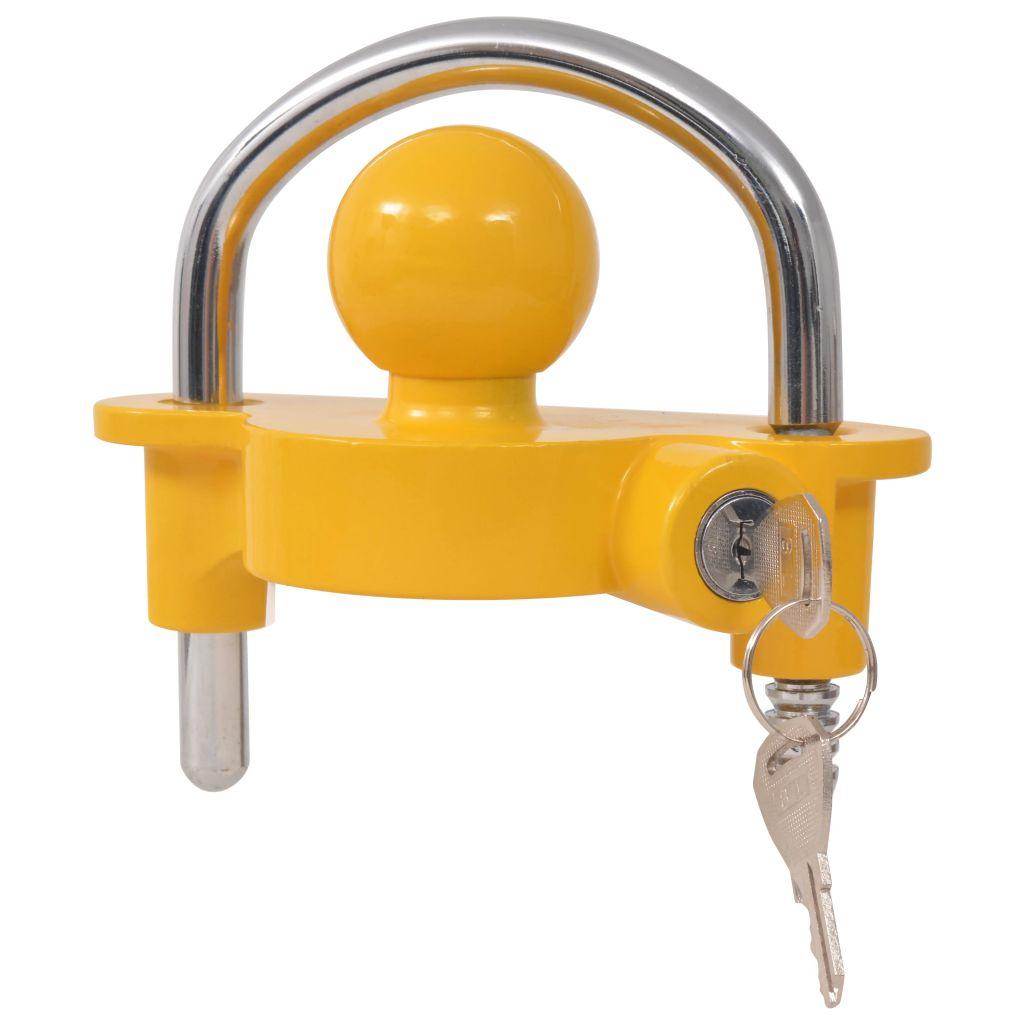 vidaXL Zámok pre prívesný vozík s 2 kľúčmi, oceľ a zliatina hliníka, žltý