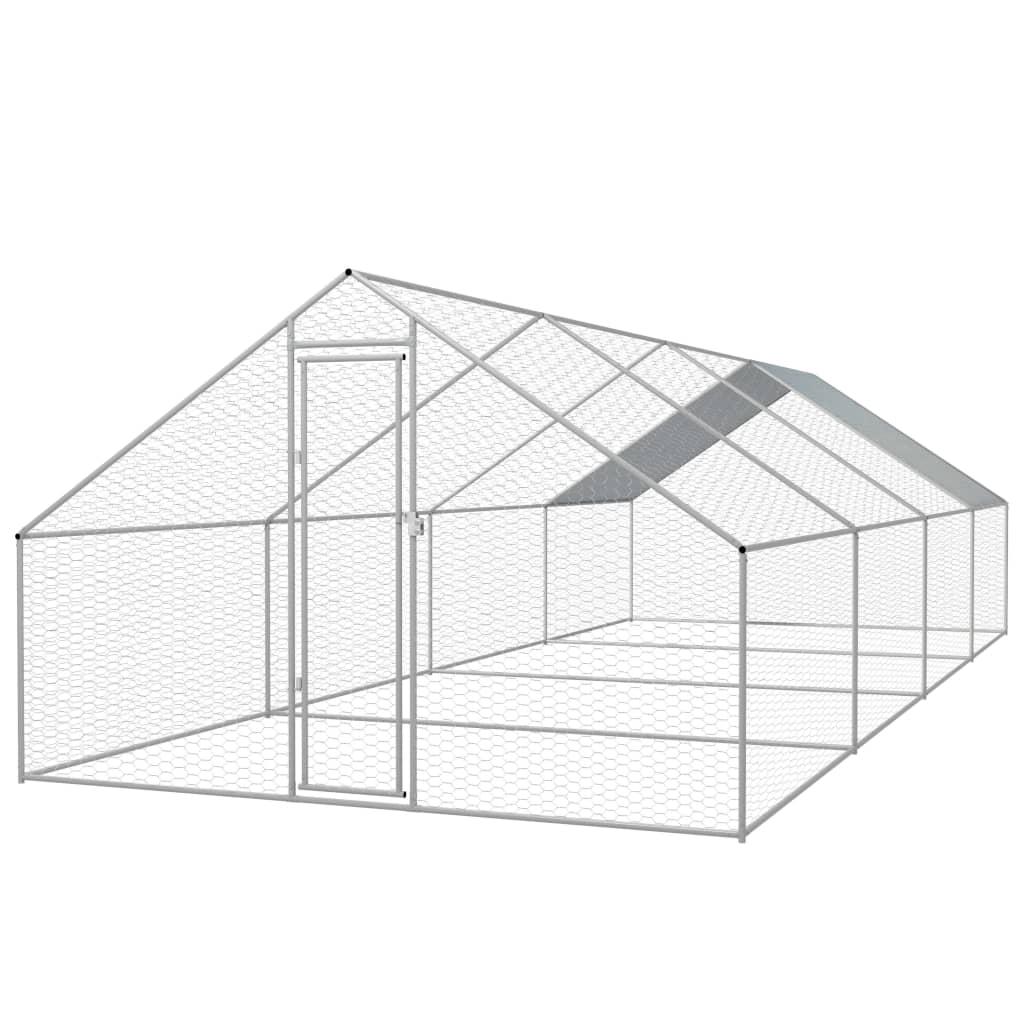 vidaXL Vonkajšia klietka pre sliepky, pozinkovaná oceľ, 3x8x2 m