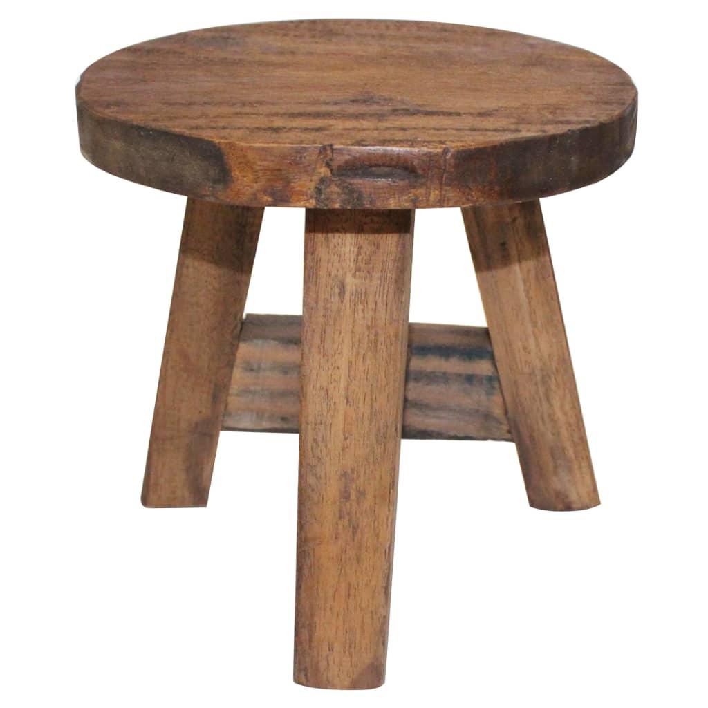 vidaXL Stolička z masívneho recyklovaného dreva, 20x20x23 cm