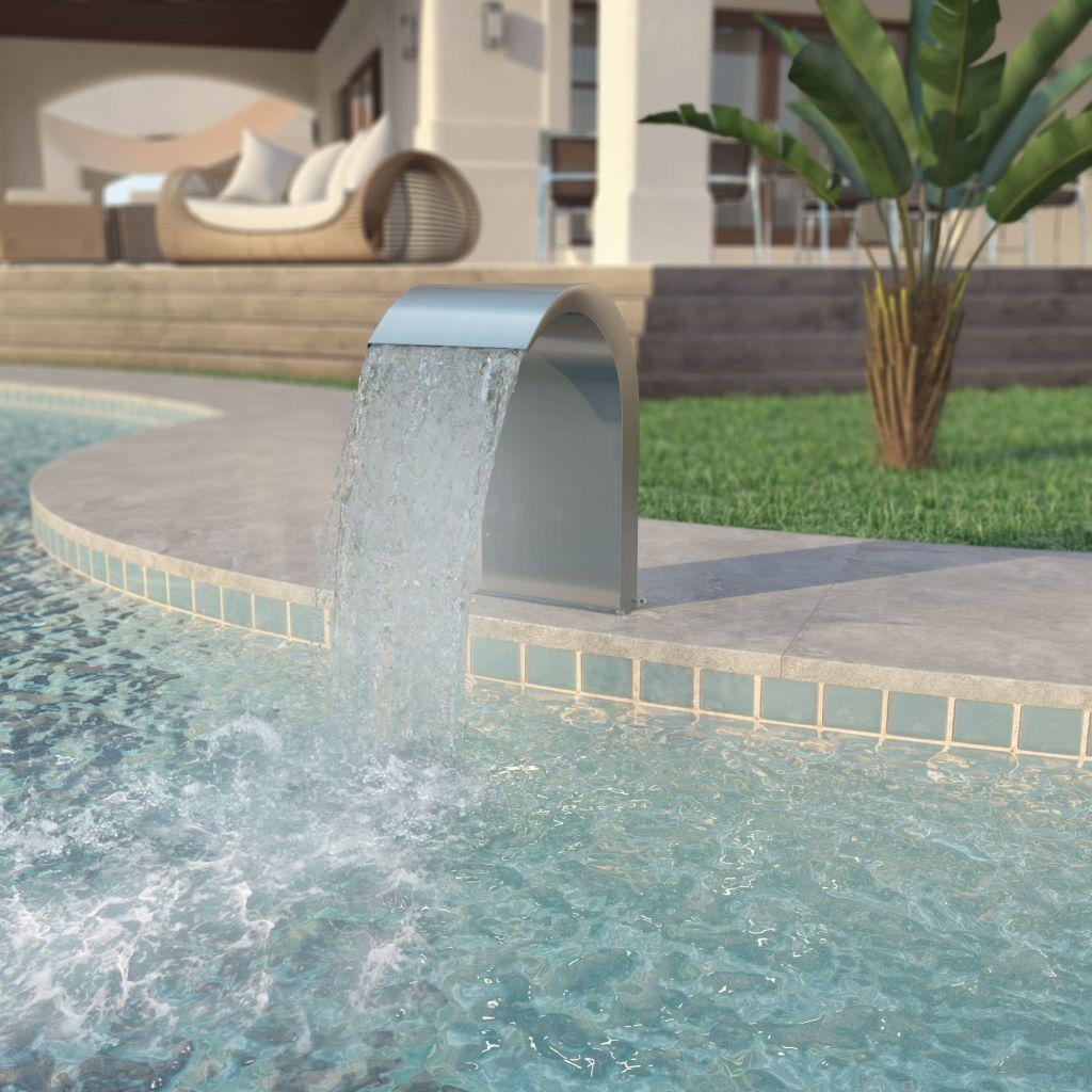 vidaXL Strieborná bazénová fontána, nehrdzavejúca oceľ, 45x30x60cm